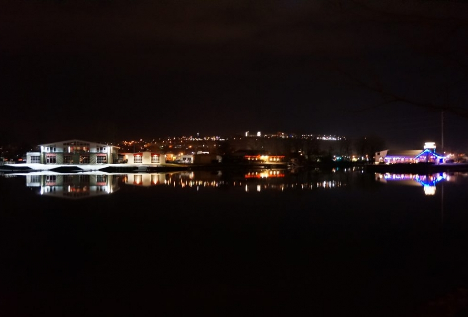 Night View over Cayuga Inlet