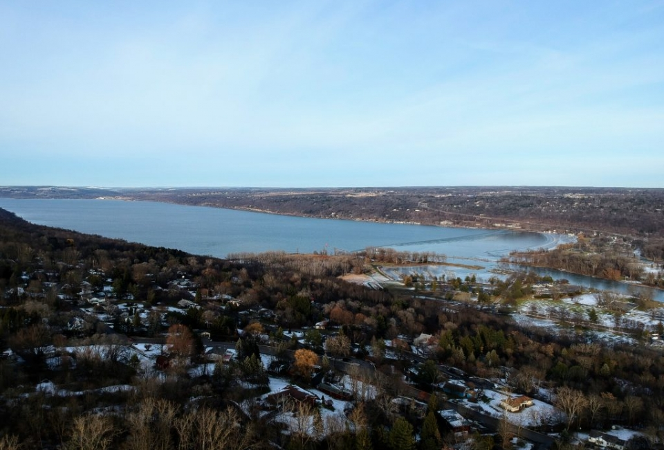 Aerial Cayuga Lake Winter